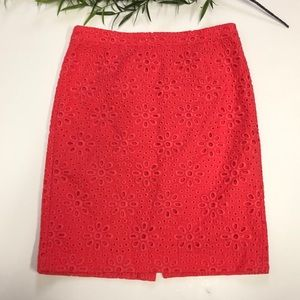 JCrew No 2 Pencil Skirt In Pinwheel Eyelet 10 Pink